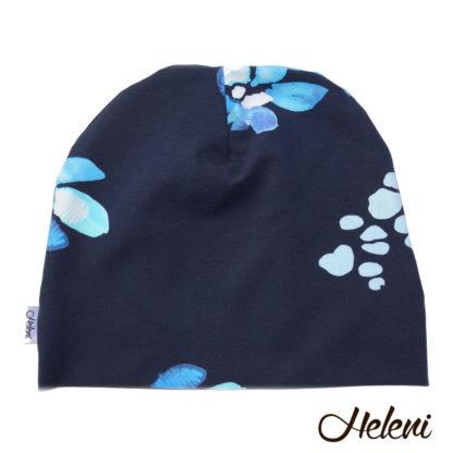 Must lilledega müts meriinovoodriga